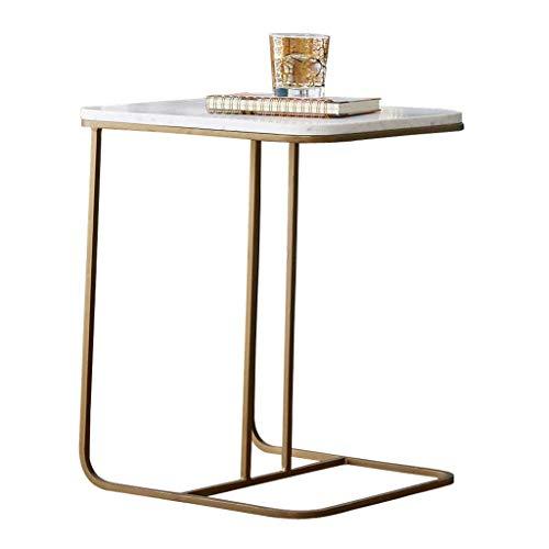 Table d'appoint en marbre et Fer Petite Table Basse Moderne Table de Travail Table de Chevet Rack Multi-Fonctions Salon Chambre Or