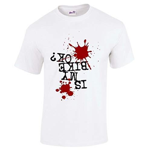 is My Bike Ok? Mountain Biking MTB Mens T Shirt-White-L