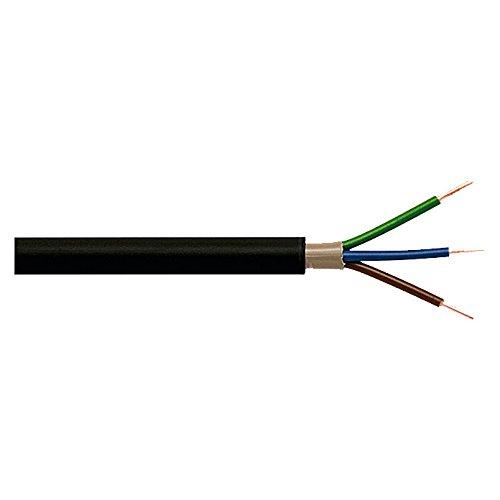 Erdleitung Erdkabel NYY-J 3 x 1,5mm², schwarz, Länge wählbar (15m)