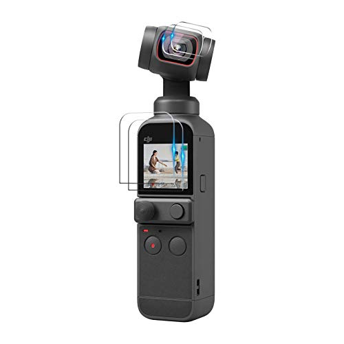 JOYSKY For DJI OSMO POCKET2 ガラスフィルム OSMO POCKET 保護フィルム 高透過率 HD画面 全方向保護 指紋防止 気泡ゼロ カメラ保護フィルム メイン画面用*2枚とレンズ用*2枚 (透明)