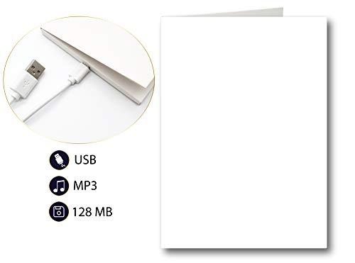 PlayMegram bespielbare blanko Audio-Grußkarte mit USB und 128 MB Speicher, Eigene Sprachnachrichten und Musik, Musik-Grußkarte, Audio-Glückwunschkarte, Kreative Geschenkidee