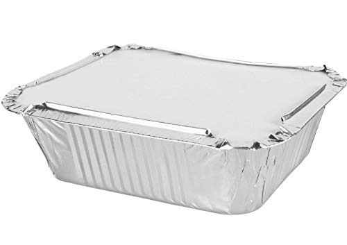 MARENT Brand 50 x Silver Foil Food Trays Containers & Lids 120 x 145 x 49mm (No.2) - MADE IN UK -Same Day Posting if bought before 1pm Weekdays