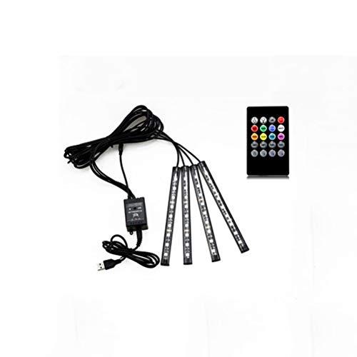 DZHT 4pcs Control De La Música Decoración Del Coche Luz USB Led Strip 12V 5V RGB 5050 SMD Impermeable Luz De Ambiente Interior Con Control Remoto (Color : C)