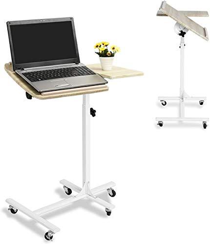 MEUBLE COSY Mesa para Ordenador portátil, Altura Ajustable, Ruedas, Soporte Plegable de Madera, Escritorio de Tablero DM de Haya, Color Haya, 60x40x70-90cm