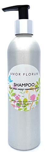 AMOR FLORUM Natural - CHAMPÚ - Aloe Vera & Naranja Dulce Y LIMÒN - 250ml Sulfatos, Sin Parabenos, Sin Silicona. Concentrado. pH 5.2-5.7 para Pieles Sensibles. 99,5% Derivado de Plantas.