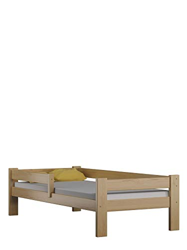 Children's Beds Home Cama Individual de Madera de Pino Macizo - Sauce sin cajones ni colchón Incluido (160x80, Natural)