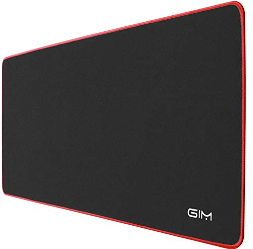 GIM Extended Gaming Mouse Pad, Mouse Pad Large Size 3mm Thick Waterproof Mouse Mat Gaming Wide Long Functional Non-slip Rubber Base and Red Edge (30.7 x 11.8 x 0.12 inches)