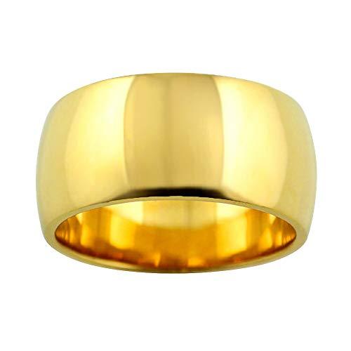 [ジュエリーアイ]甲丸リング 10mm幅 ゴールド メンズ 甲丸 リング 指輪 太い 10金 ピンクゴールドK10 シンプル ストレート 結婚指輪 単品 22号