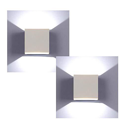XIAJIA-2 pcs 6W LED Aplique Pared Interior,Moderna Apliques de Pared,perfecto para Lámpara de Decoración para, AC85-265V, 10×10×5cm,Blanco/Blanco frío