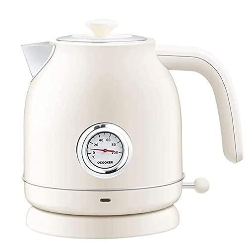 Stainless Steel Household Electric Kettle, Automatic Power Off 1.7L, Single Layer Retro White