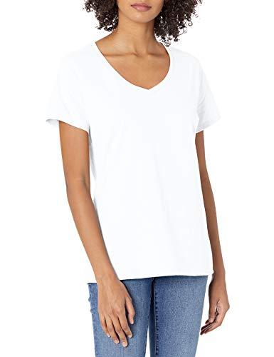 Hanes Women's Nano Premium Cotton V-Neck Tee, White, Medium