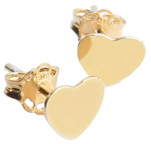 Genuine Vermeil Celebrity Style Gorgeous 6mm Heart Stud Earrings. 24K Yellow Gold Over Sterling Silver. Stunning Design. Lovely Little Pair Of Must Have Earrings! Stamped 925. 10 Year Guarantee.