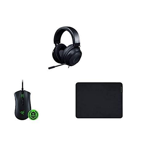 Razer Kraken - Gaming Headset schwarz + DeathAdder V2 - Kabelgebundene USB Gaming Maus mit ergonomischen Komfort + Gigantus V2 Medium - Weiches Gaming-Mauspad