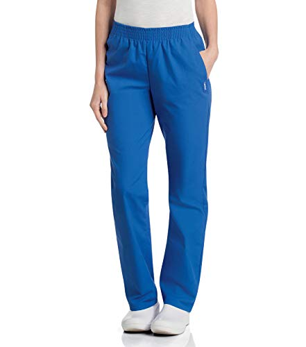 Landau Women's Comfortable Relaxed Fit 2-Pocket Elastic Waist Scrub Pant, Royal Blue, X-Large