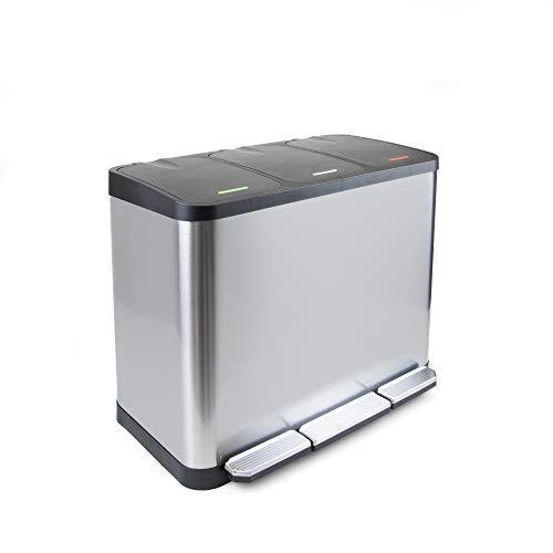 Emuca - Contenitore esterno con scomparti, Pattumiera con Pedale per Riciclaggio con 3 scomparti da 9 litri, Acciaio Inossidabile