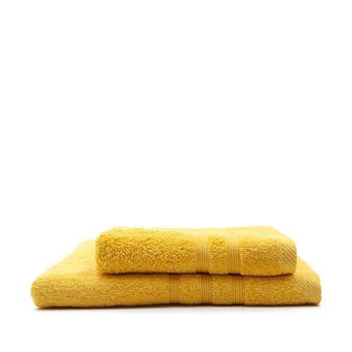 TODAY Lot de 1 Serviette de Bain 50 x 100 cm + 1 Drap de Bain 70 x 130 cm Safran - 100% Coton