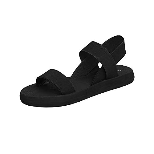 DREAM PAIRS Women's Elastica-soft Summer Cute Flat Beach Comfortable Casual Sandals, All Black, Size 8