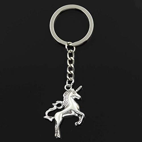 PEIPONG Fashion Keychain 39X27Mm Horse Unicorn Pendants Diy Men Silver Color Car Key Chain Ring Holder Souvenir For Gift