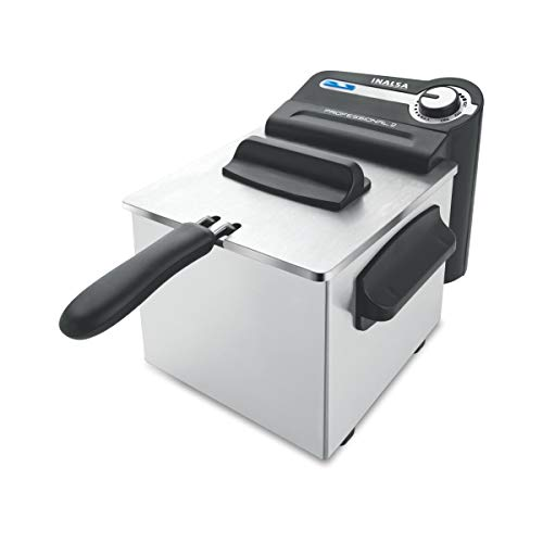 Inalsa Professional 2 Fryer, 18/8 Steel, 2 Liter, Digital Timer, 1700 W, Detachable, Dishwasher Safe, European Energy Efficiency Standard, Stainless Steel, (Grey)