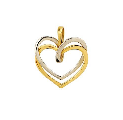 Goldanhänger Herz 585 Gold Anhänger Kettenanhänger 14 Karat Gelbgold & Weißgold Bicolor Damen Schmuck 3089