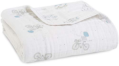 aden + anais - Couverture de Rêve Dream Blanket Prélavée en Mousseline 100% Coton - Imprimé Night Sky Reverie - Quadruple-épaisseur 120 cm x 120 cm