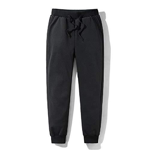 Whale city Pantalones de chándal para Hombre, Pantalones térmicos de vellón Grueso, Pantalones de chándal Ajustados cómodos para Exteriores con Bolsillos (Negro, XL)
