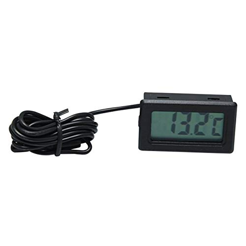 fengzong X-10 Digital Embedded Thermometer Elektronische Temperatur Tester Meter Instrumente Messgerät mit Sonde Aquarium Kühlschrank (Schwarz)