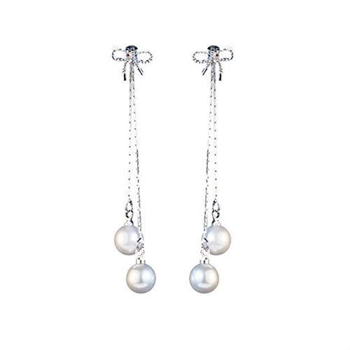 Semplici Orecchini a Nodo con Fiocco in Argento alla Moda, Lunghi Orecchini di Perle, Orecchini Distinguished (Color : Bow Pearl Earrings)