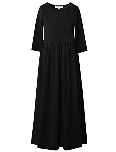 Jxstar 3/4 Sleeve Black Long Dress for Girls Maxi Dresses 7-16 with Pockets