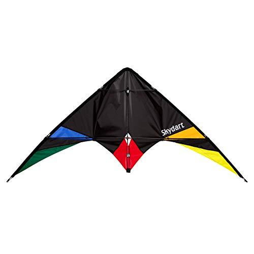 Wolkenstürmer Skydart Lenkdrachen mit Glasfaser-Gestänge, schwarz - Kite für Einsteiger und Fortgeschrittene