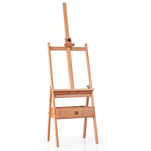 GYMAX Studio H-Frame Easel, Adjustable Height Painting Stand with Storage...