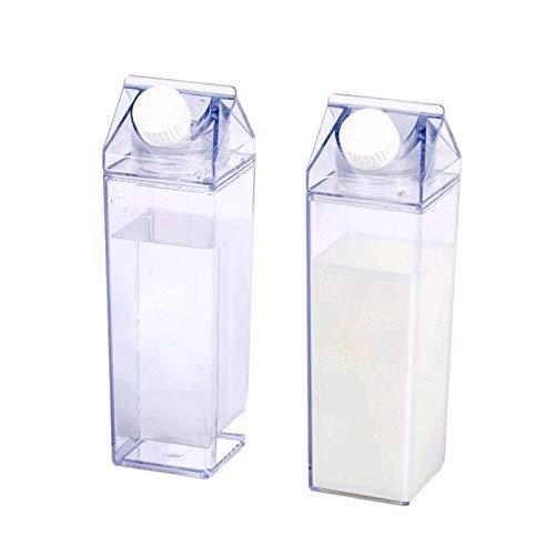 2er Pack Milchkarton Wasserflasche, 500 Ml Quadratische Milchflaschen BPA-freie Tragbare Wasserflasche, Lear Plastic Plain Kindermilchflaschen Für Outdoor-Sportreisen Campingaktivitäten