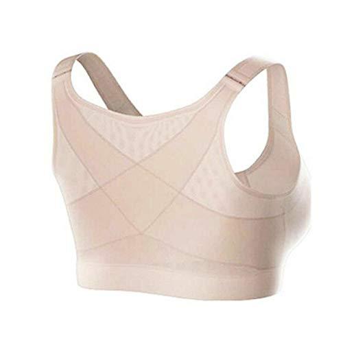 Haltungskorrektur Lift weiblicher BH stoßfest Sport Unterstützung Fitness Weste atmungsaktiv BH Unterwäsche Crossback Korsett BH S-XL Gr. XL, khaki