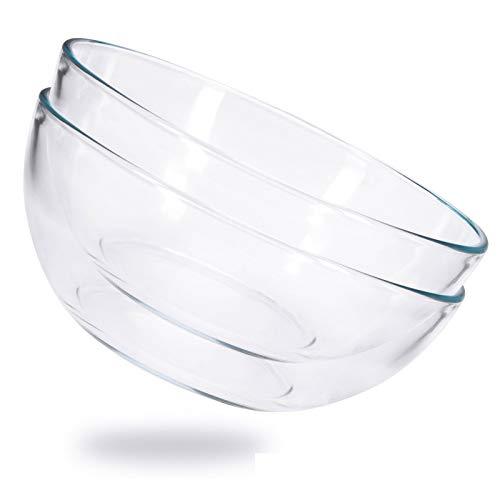 ChasBete Ensaladera Grande Cristal, Bol de Cristal Templado, Cuencos Cocina Transparente D 20cm Juego de 2