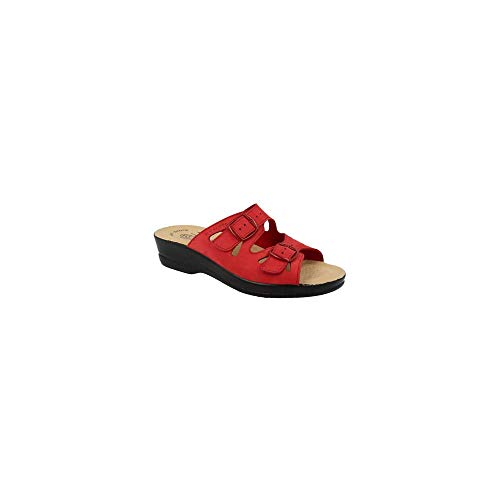 Fly Flot - Ciabatta a Due Fasce in Nabuk Rosso - 37