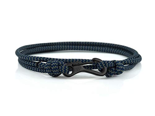 Storm Zig Zag & Black Carabiner Climbing Bracelet, Made from Stainless Steel and Paracord, Adjustable, Handmade in The UK