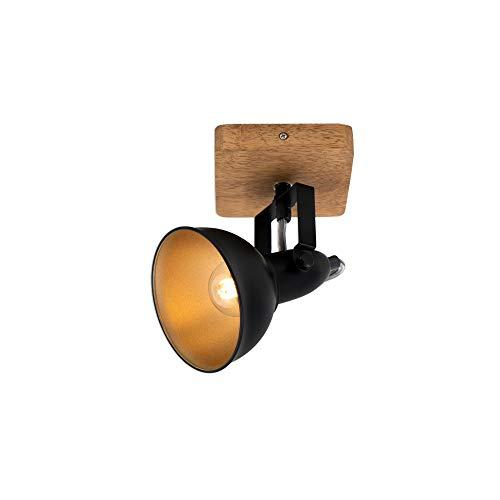 Briloner Leuchten - Spotleuchte, Wandspot, Wandleuchte retro, vintage, Spot dreh- und schwenkbar, 1x E14, Metall-Holz, Schwarz-Gold, 110x110x157mm (LxBxA)