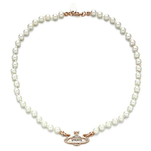 Tixiyu Collar de perlas con diamantes de imitación, diseño de planeta Saturno, ideal como regalo de cumpleaños o aniversario (oro rosa)