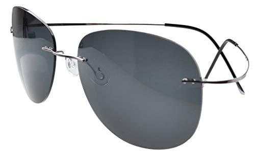 Eyekepper Randlos Titan Rahmen polarisierten Sonnenbrillen (Gunmetal/Grau Lens, 60)