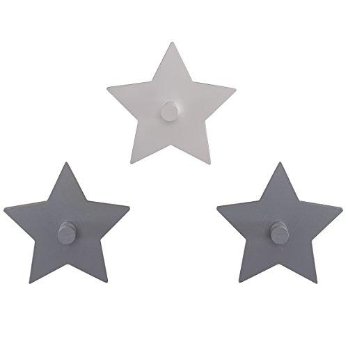 Baby 3er Set Wandhaken hochwertiges Holz Little Stars grau/weiß • Garderobe Kinderzimmer Deko Sterne 3 Stück