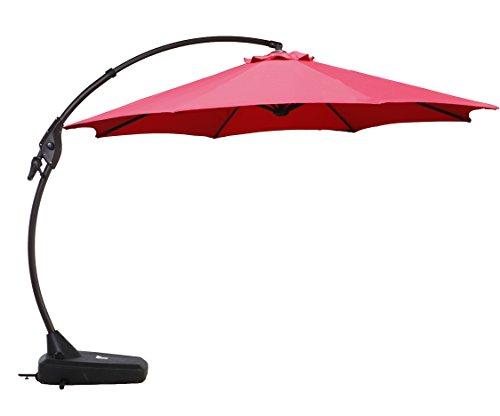 Grand Patio Deluxe NAPOLI 12 FT Curvy Aluminum Offset Umbrella, Patio Cantilever Umbrella with Base,...