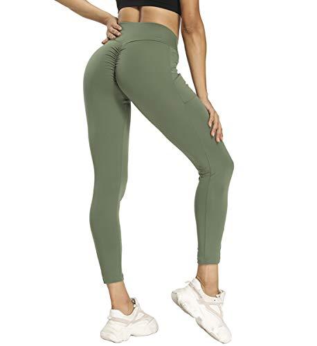 SLIMBELLE Leggings Shorts Sportivi Donna Capri Leggings Opaco Pantaloni Yoga Alta Vita con Tasca Push Up Pantaloncini Leggins Sport Allenamento Opaco Yoga Fitness