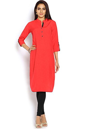 Soch Women's Georgette Straight Kurti (MD2306632_Red_Medium) - MD2306632