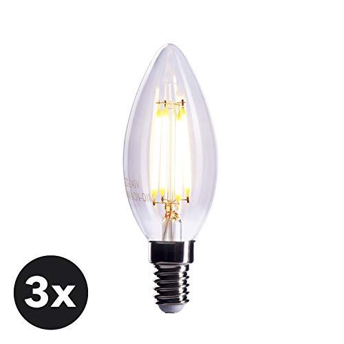 CROWN LED 3 x Filament Glühbirne E14 Fassung, 4W, Ersetzt 40W Birne, Dimmbar, Warmweiß, 230V, FL03, Klare Lampe zur hellen Beleuchtung