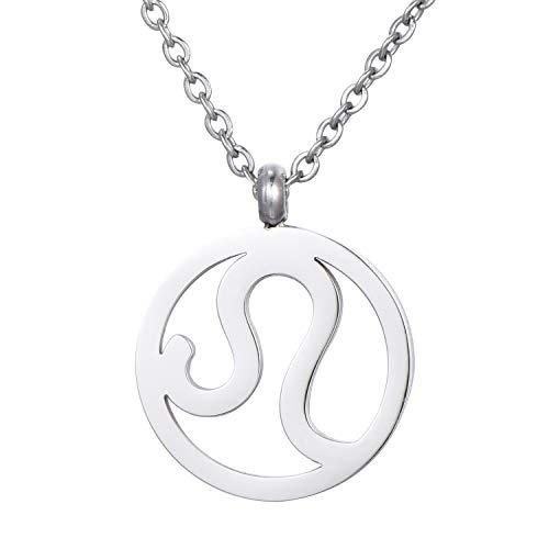 Morella Collar Acero Inoxidable Plata con Colgante Signo del Zodiaco Leo en Bolsa de Terciopelo