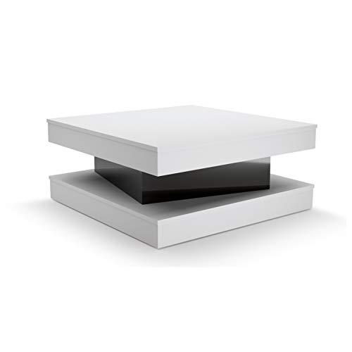 Fixy Table Basse Carrée Contemporaine avec Tiroir Blanc et Noir 80 x 80 x 35,5 cm