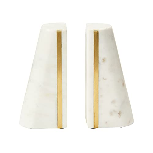 Main + Mesa White Marble Bookends with Brass Gold Decorative Stripe, Triangular Natural Polished...