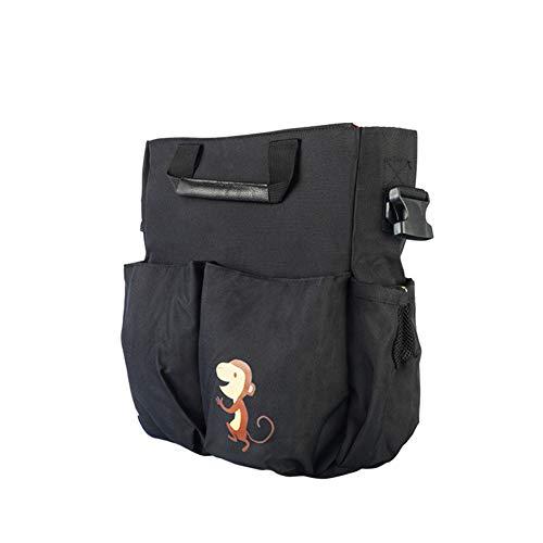 RENS - Bolsa organizadora para cochecito de bebé, diseño de mono con un hombro, con 2 soportes para tazas profundas, correa para el hombro utilizada como transporte, gran capacidad para accesorios de bebé