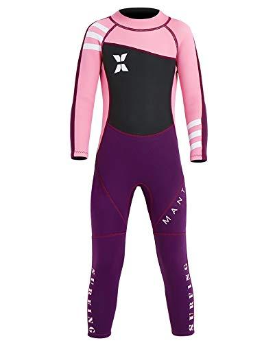 Echinodon Mädchen Neoprenanzug UPF 50+ 2.5MM Neopren Schwimmanzug Langarm UV Schutz Badeanzug für Baby Kinder Rosa XL