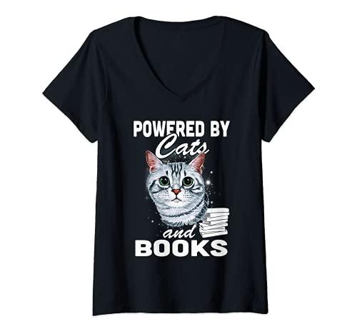 Donna Gatti 365 Alimentato da gatti e libri Maglietta con Collo a V
